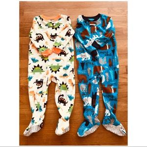 2 Carters 2T Fleece Footed Pajamas
